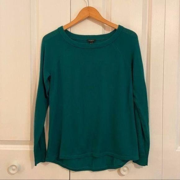 Ann Taylor Green Scoop Neck Wool Sweater Small